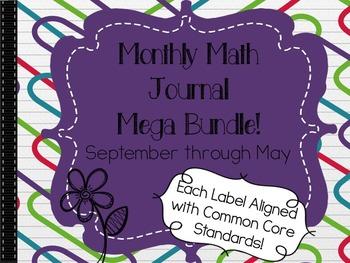 Monthly Math Journal Mega Bundle ~ Journal Labels for September through May