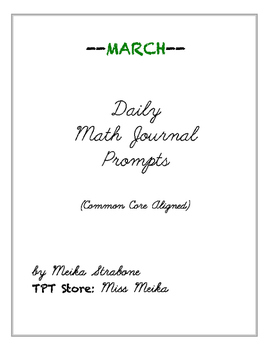 Daily Math Journal Prompts (MARCH)