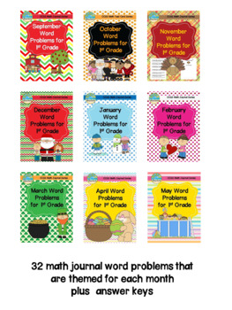 Monthly Math Journal Word Problems for 1st Grade