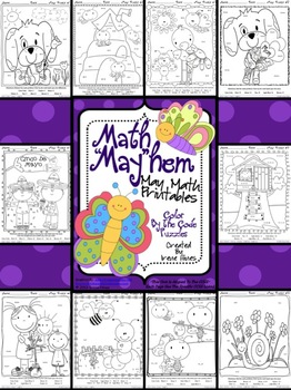 Spring: Monthly Math Masterpieces ~ Pack Of Color By The Code Math Puzzles