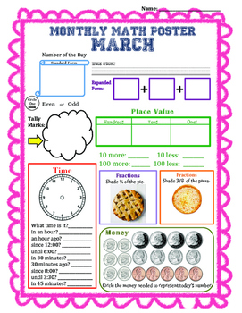 Monthly Math Poster (March)