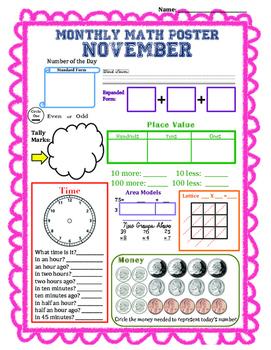 Monthly Math Poster (November)
