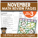 Monthly Math Practice November Print and Go