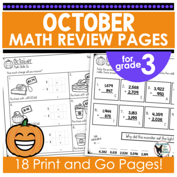 Monthly Math Practice October Print and Go
