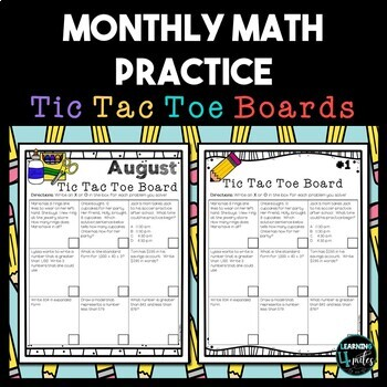 Monthly Math Tic Tac Toe Board Worksheets