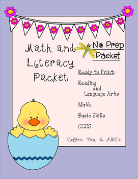 Monthly Math and Literacy Packet No Prep (Kindergarten)
