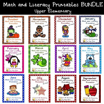 Monthly Math and Literacy Printables BUNDLE - Upper Elementary