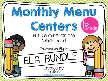 Monthly Menu Centers ELA BUNDLE {CCS Aligned} Grade 1