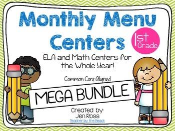 Monthly Menu Centers MEGA BUNDLE {CCS Aligned} Grade 1