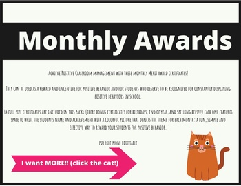 Monthly Merit Awards Certificates Plus End of the Year, Birthday Certificates