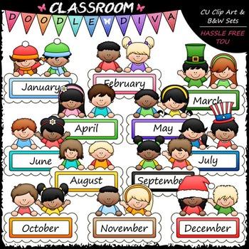 Monthly Message Kids Clip Art - Calendar Clip Art - Toppers