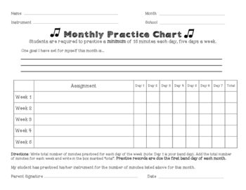 Monthly Music Practice Chart