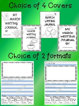 Monthly NO PREP March Journal Writing Prompts / Centers - Beginner Writers K 1