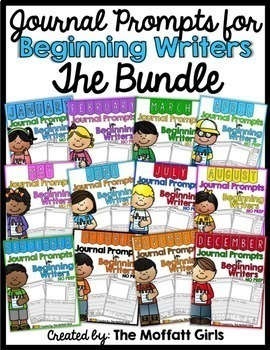 Monthly  NO PREP Journal Prompts for Beginning Writers (The Bundle)