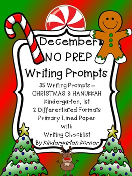 Monthly NO PREP Journal Writing Prompts DECEMBER  Beginner