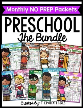 Preschool Monthly NO PREP Packets THE BUNDLE