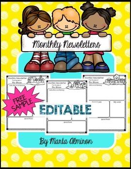 Monthly Newsletters - EDITABLE - FREEBIE