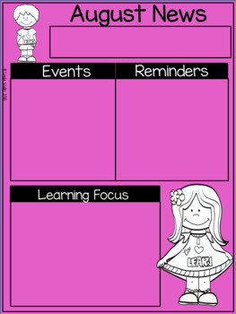 Monthly Newsletter, Calendar, & Reminders Templates