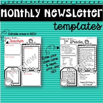 Editable Monthly Newsletter Templates with Holiday Themes