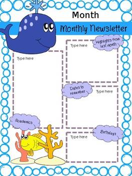 Monthly Newsletter Ocean {Editable}