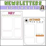 Monthly Editable Newsletter Templates - September thru June - entire school year
