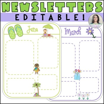 Monthly Editable Newsletter Templates - September thru June - entire school year