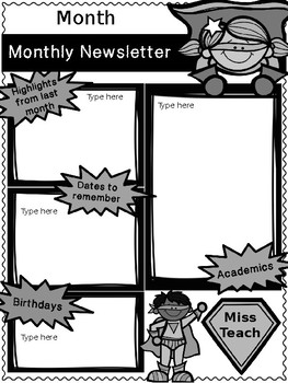 Monthly Newsletter Superhero {Editable}