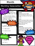 Monthly Newsletter Superhero {Editable}