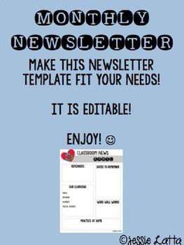 Monthly Newsletter Template EDITABLE