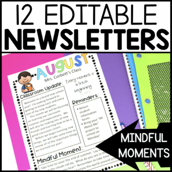 Monthly Newsletter Template Editable - with Mindfulness Activities