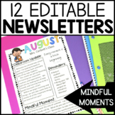 Monthly Newsletter Template Editable with Mindfulness Activity