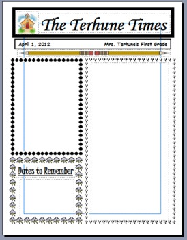 monthly newsletter templates by teaching with terhune tpt. Black Bedroom Furniture Sets. Home Design Ideas