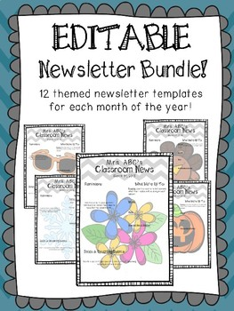 12 Monthly Themed Newsletter Templates {EDITABLE}