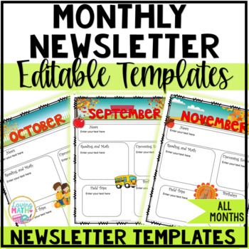 monthly newsletter templates editable by loving math tpt