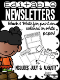 Monthly Newsletter Templates {Editable} - Black & White Version