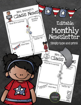 Monthly Newsletter Templates - Editable (color and black/white)