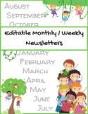 Monthly Newsletter Weekly Newsletter Elementary Editable N