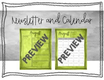 Monthly Newsletter and Calendar 2018-2019