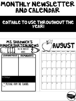 Monthly Newsletter and Calendar