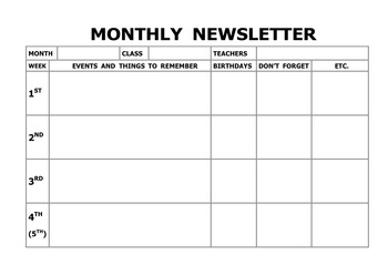 Monthly Newsletter listed by Week