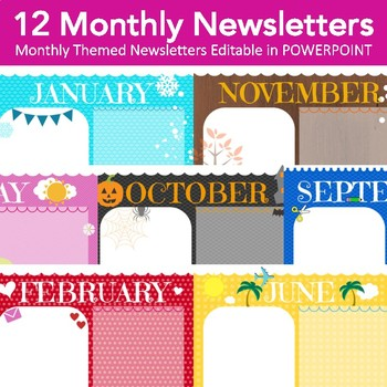 Monthly Newsletters - 12 Monthly Themed Newsletters