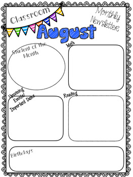 BACK TO SCHOOL Monthly Newsletters for the Classroom