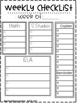 BACK TO SCHOOL Weekly/Daily Organizational Checklists