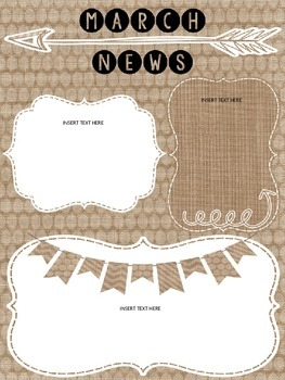 Monthly Newsletters (Burlap Theme, Editable for All year)