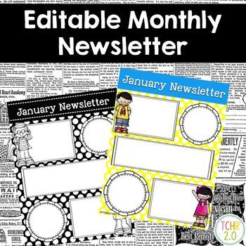 Monthly Newsletters Editable Melonheadz