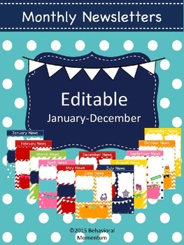 Monthly Newsletters (Editable for All Year)