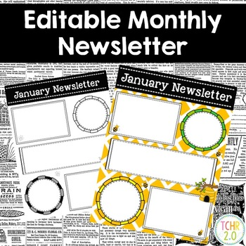 Bees Monthly Newsletters Editable
