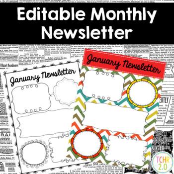 Monthly Newsletters Parent Communication Editable Chevron