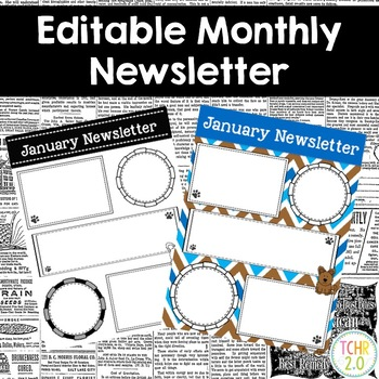 Monthly Newsletters Parent Communication Editable Dog Theme
