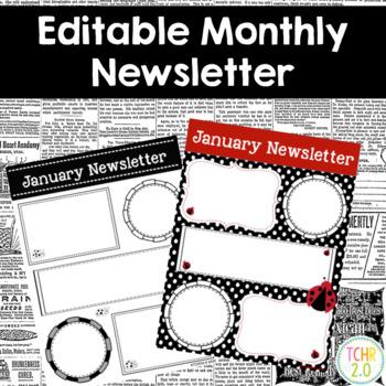 Ladybug Monthly Newsletters Editable